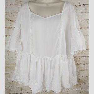 Free People Ivory Boho Blouse Shirt L Sheer Hippie
